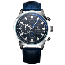 EFFORT Sport Watch New Men Genuine Leather Blue Strap Full Steel Chronograph Analog Climbing Military Quartz Watches EF.2024M