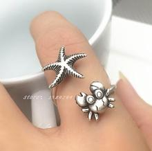 ancient Thailand silver starfish and crab Ring  MenDouble opening animal rings for Women fashion Jewelry marine life jewelrys