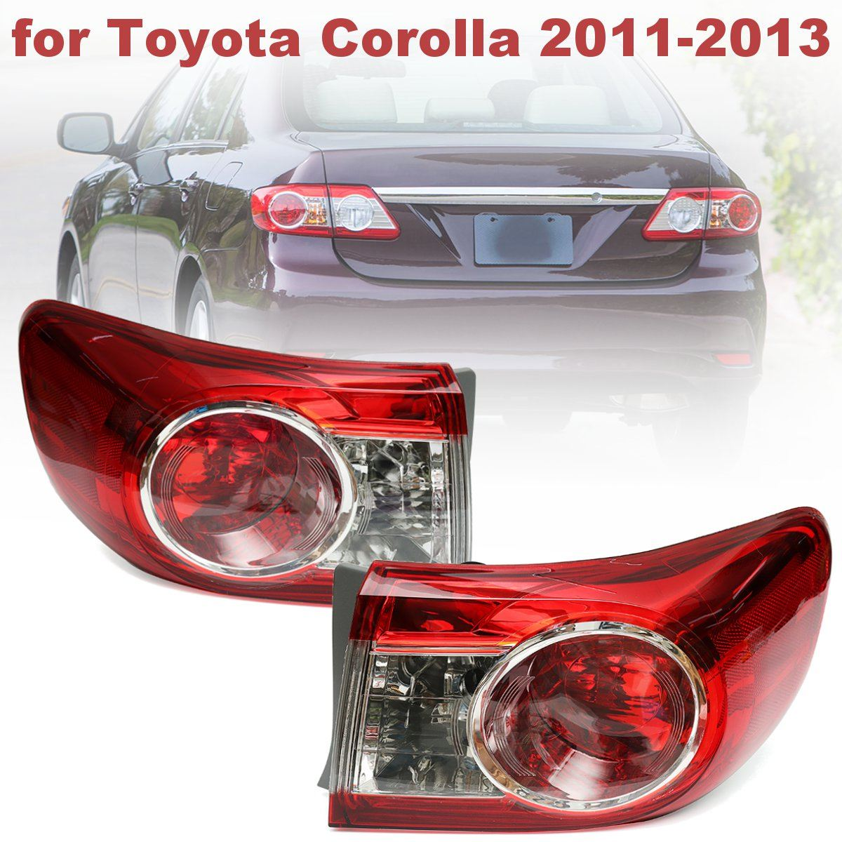 #TO2804111 #81560-02580 Replacement Pair Red Rear Left Right Side Tail Lights Brake Lamps for Toyota Corolla 2011 2012 2013<br>