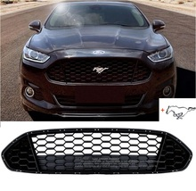 Matt Black Front Grille Grill Bezel Honeycomb Mesh Cover with Mustang logo for Ford Mondeo Fusion 2013-2016(China)