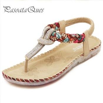 Summer Women Shoes Crystal Stylish Comfortable Breathable Seaside Beach Flip Flopswomen Sandals Pasoataques Brand 527-1