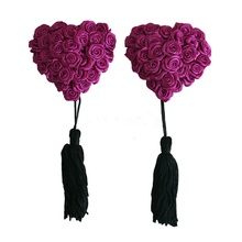 Buy 1 Pair Women's Sexy Nipple Covers Heart Shape Rose Breast Petals Tassel Pasties Bra Lingeries