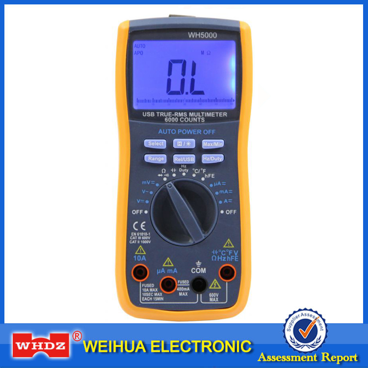 WHDZ WH5000 Digital Multimeter 5999 Counts with USB Interface Auto Range with Backlight Magnet hang  AC DC Ammeter Voltmeter Ohm<br>