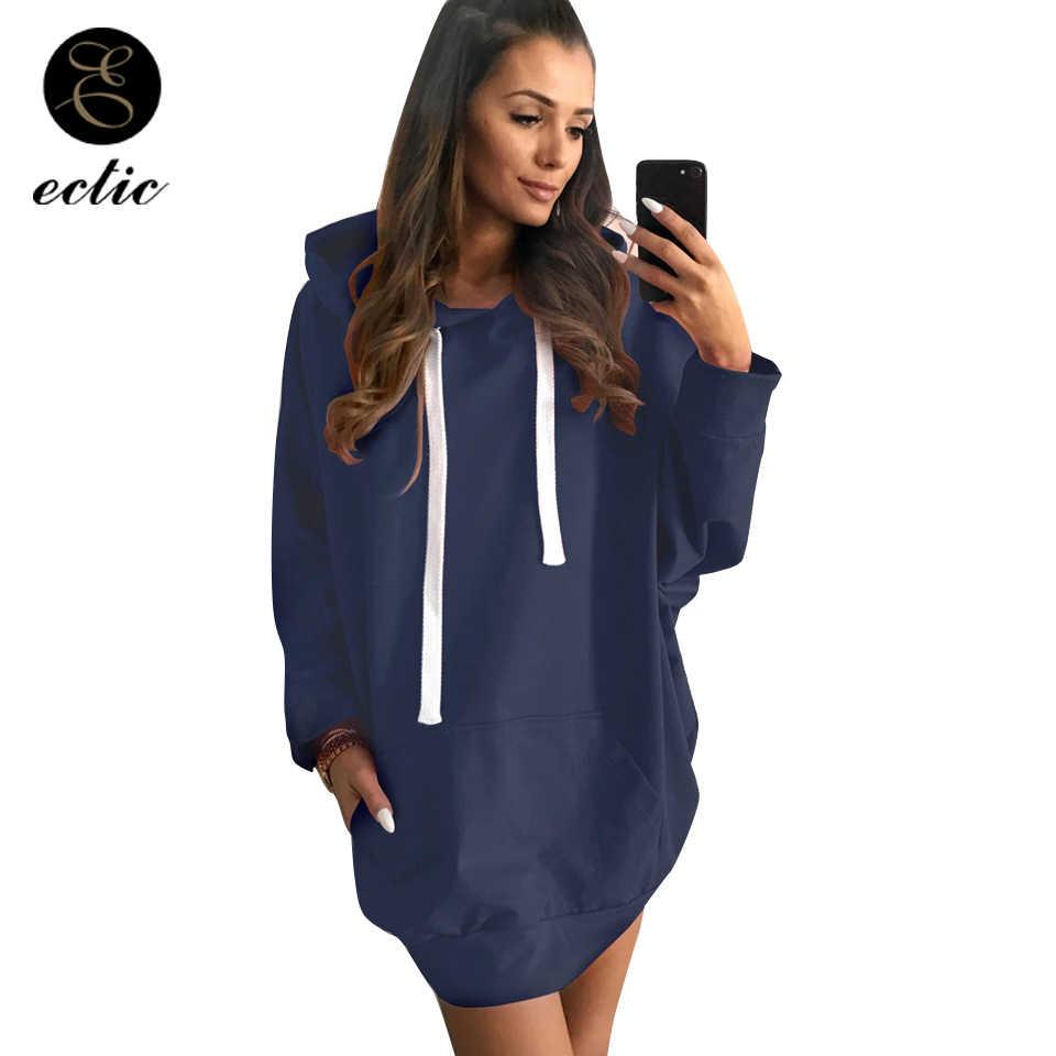 Plus Size Women Sweatshirt Oversized Hoodie Plain Drawstring Poleron Mujer  2018 Long Sleeve Tunic Hoodies Kpop 18c699dc1578