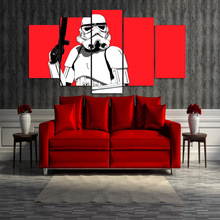 5 Pieces Canvas Prints storm trooper red Painting Wall Art Home Decor Panels Poster Pictures For Living Room