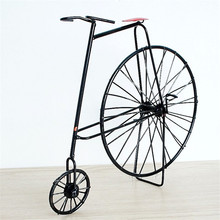 Vintage Iron Bicycle Model Craft Antique Bike Car Decorative miniaturas House novelty Craft Home Decoration Accessory 24*5*17 cm(China)