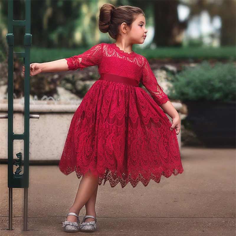 DE PEACH 2019 Kids Flower Lace Dresses For Girls Red White