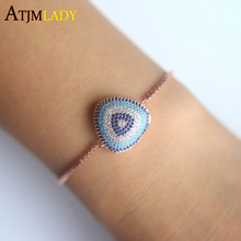 Triangle Micro pave Cubic Zirconia Rose Gold Color Bracelet Jewelry clear blue stone Top Quality Wholesale jewelry for women