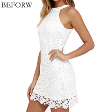 BEFORW Casual White Pencil Dress Fashion Office Hollow Women Dress Elegant Halter sleeveless Lace Party Dresses Maxi