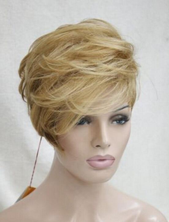 DYZ816+++High quality golden blonde to brown ombre short asymmetrical wig heat freindy<br><br>Aliexpress