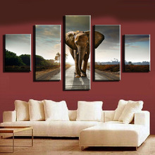 Figure 5 board pictures elephant peace modern household adornment wall art on canvas print news photos do framework(China)