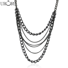 Newest Sexy Multi-Layer Long Stream Women All Compatible Jewelry Necklace Fashion Punk Metal Black Women Jewelry 2017(China)