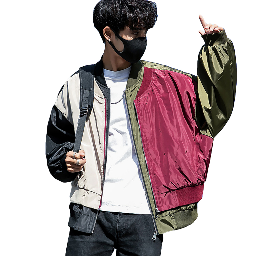 New In Patchwork Jacket Men Vintage Bomber Baseball Colour Hip Hop Street Casual Jackets Male Polit College Windbreaker Coat