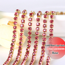 Gold Base 3mm Rose Rhinestones chain DIY Chain SS12 10 Yards diy decoration Sewing Rhinestones Chain For Clothes(China)