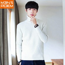 MEN'S POEM Autumn and Winter High Collar Korean Fashion Slim Hedging Men's Leisure Sweater(China)
