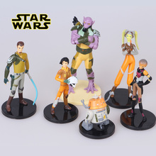 6pcs/lot 5-11cm Disney Star Wars 2nd generation R2-D2 character With stand hand office earner model doll toy Kids