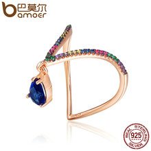 BAMOER Fashion New 925 Sterling Silver Colourful Sparking CZ Beauty Tears Ring for Women Wedding Anniversary Jewelry Gift SCR154(China)