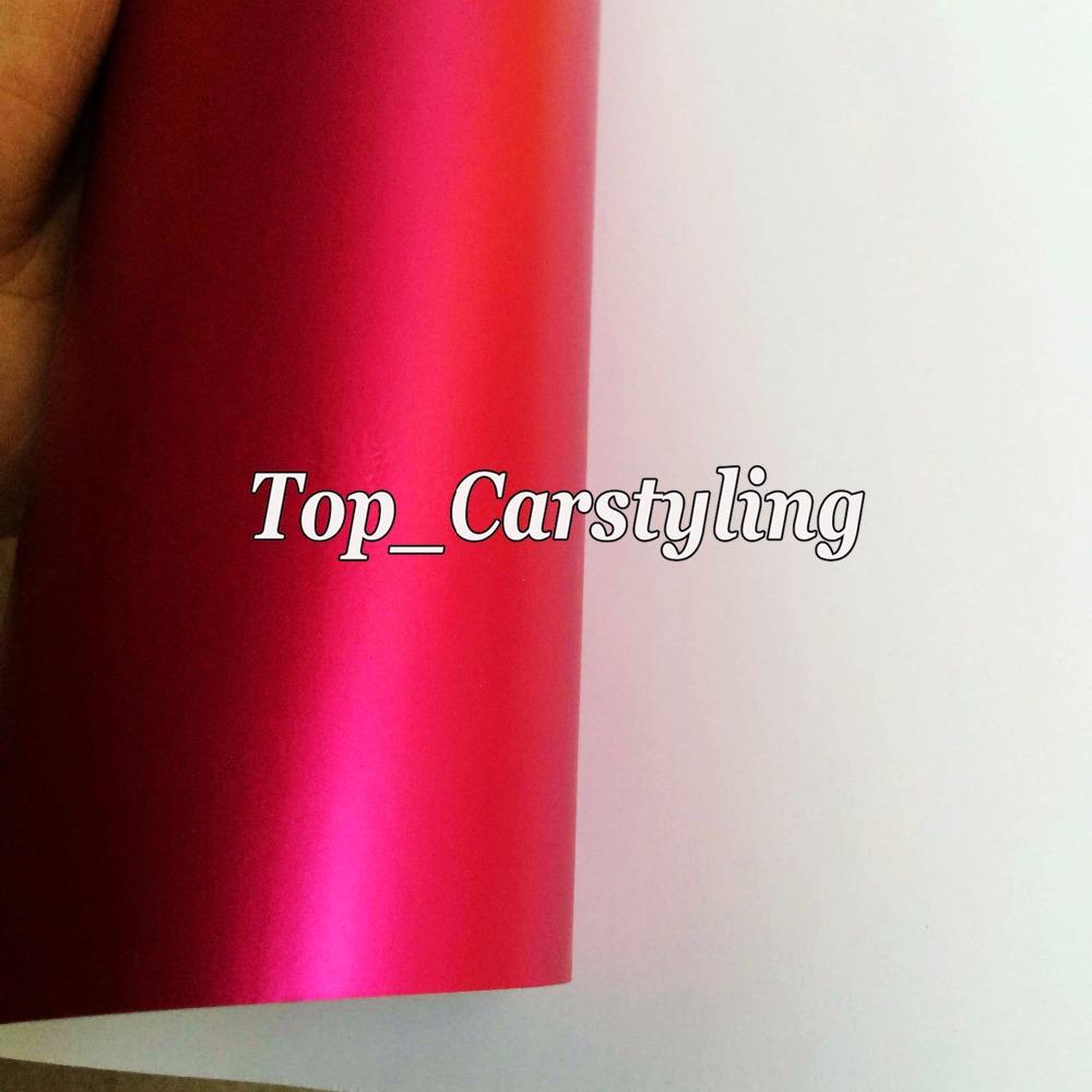satin chrome matt hot pink rose red car wrapping film (4)