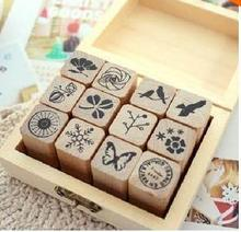 (1 Lot=12 Pcs Stamps+1 Box) DIY Scrapbooking Vintage Flowers Stamp Wooden Box Birds Stamps Decoration Stamp Set