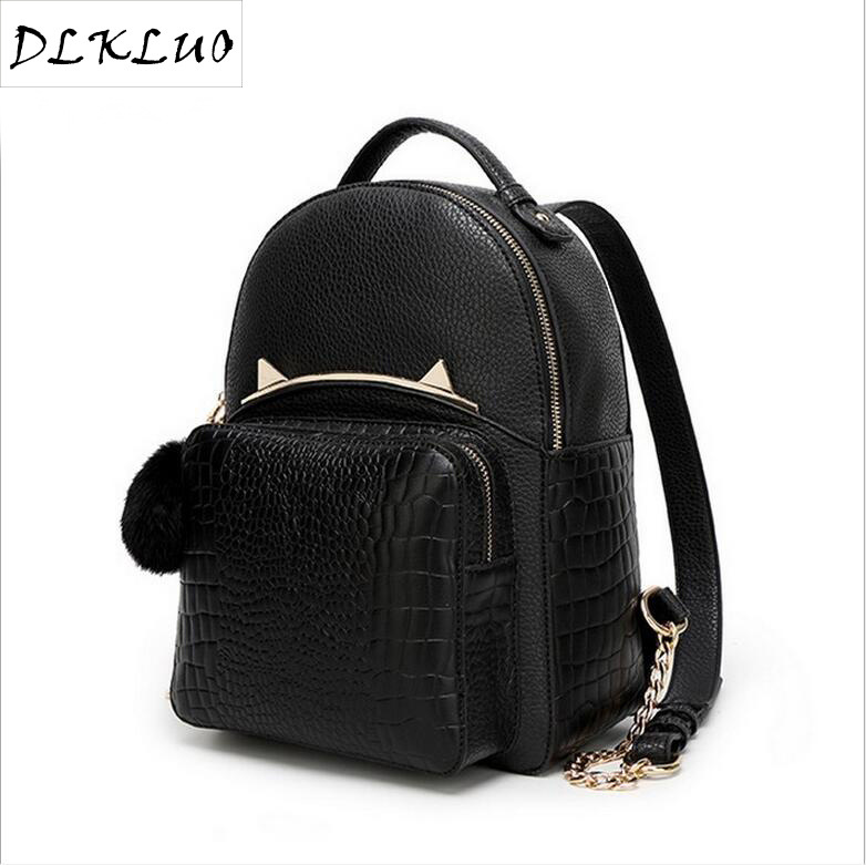 Korean fashion leisure backpack female students bag crocodile cat ears wholesale fashion fabric style<br>