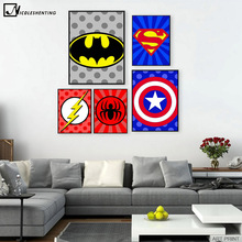 Batman Superman Captain America Minimalist Art Canvas Poster Painting Cartoon Superheroes Logo Wall Picture Children Room Decor(China)