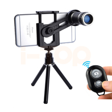 New Phone Lentes Kit 8X Lens Zoom Telephoto Lenses Telescope Clips Tripod Bluetooth remote control For iPhone 6 7 Xiaomi Huawei