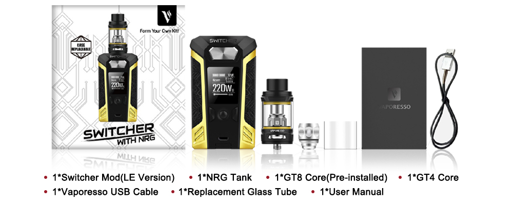 Original Vaporesso Switcher Kit with Switcher Vape 220W Box Mod and 2m 5ml NRG Tank Atomizer No 18650 Battery E cigarette (16)