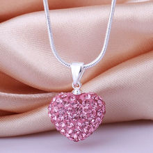Hot 1Pcs Women Colorful 925 Sterling Silver Chain Necklaces Heart Of Ocean Crystal Pendant Jewelry Women Mother's Day Gift 2017