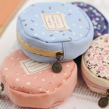 New Fashion Lovely Kawaii Round Shape Floral Women Girls Wallet Multicolor Coin Bag Purse Kid Gift  Change Pouch Key Holder