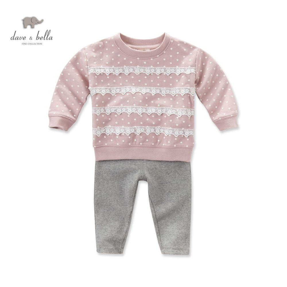DB4230 dave bella autumn baby girls clothing sets girls pink lace clothing set<br><br>Aliexpress