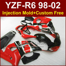 F8EF Hot sale red fairing parts for YAMAHA fairing kit YZF  R6 98-02 custom fairing YZF R6 1998 1999 2000 2001 2002  TO9V