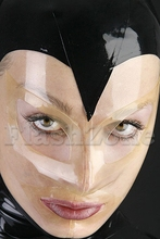 Free shipping ~Black&Transparent fashion hood rubber latex mask(China)