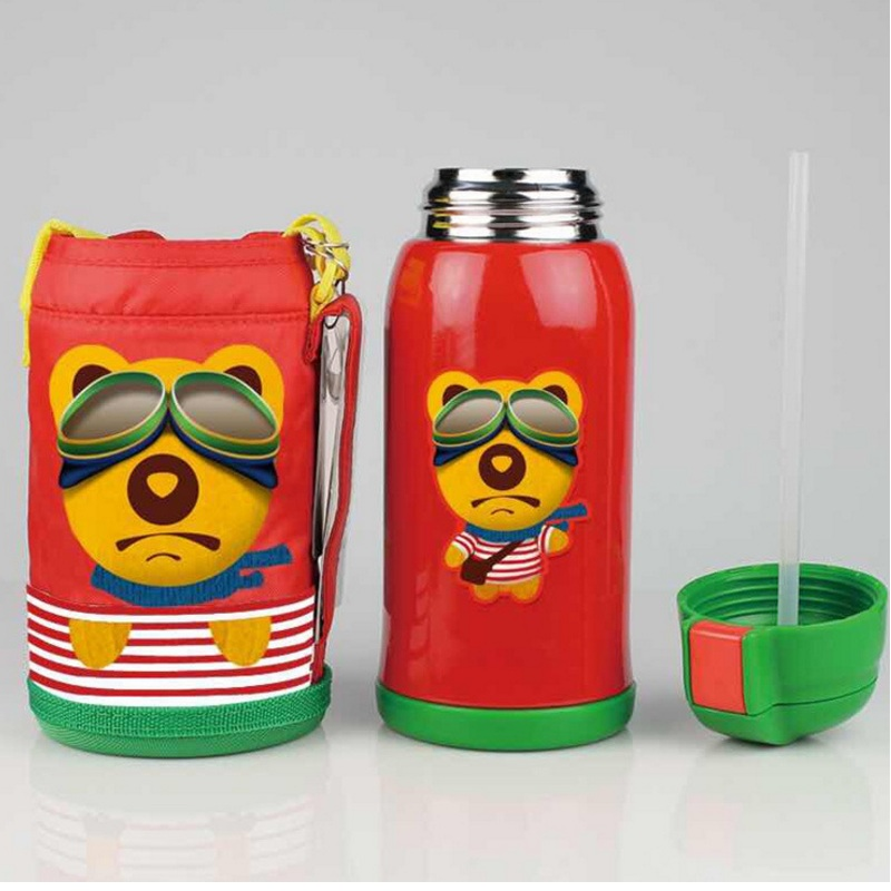 Kids cup baby straw bottle child warm water bottle milk school stainless steel vacuum flasks cup 600 ml solid feeding<br><br>Aliexpress