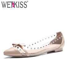WETKISS Super Big Size 32-45 New Sexy Clear Patchwork Women Flats Fashion Rivets Butterfly Knot Flat Sole Pointed Shoes Woman