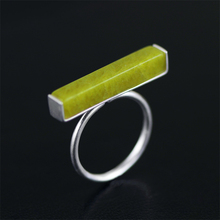 YESWOMEN Simple 925 Sterling Silver Minimalist Jewelry Natural Olive Jade T Bar Adjustable Ring(China)