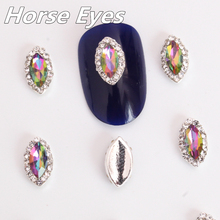 New product Nail Art Decoration Rhinestones 5X10mm Sliver Flat back Horse Eyes Non Hot fix Rhinestone Bling B0862(China)