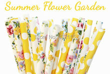 75pcs Mixed 3 Colors SUMMER FLOWER GARDEN Paper Straws, Party Decor, Cake Pops, Floral, Yellow Polka Dots Party Straws, Birthday