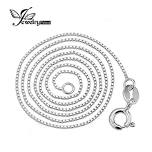 Jewelrypalace New Italian Box Chain Necklace Pure 925 Solid Sterling Silver 0.8 1mm 40cm 45 cm 2016 Fine Jewelry For Women(China)