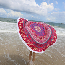 2016 Microfiber Round Beach Towel Tassels Decor Bohemia Printed Towels Serviette De Plage Adulte Toallas Beach 145cm Round
