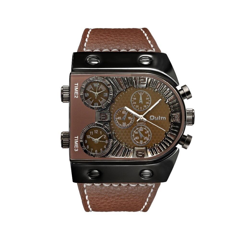 OULM Sport Watch Men Quartz Analog Clock 3 Time Zone Sub-dials Design Big case Oversize Fashion Black Wrist Watches relogio 21