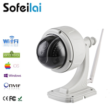 1080p HD WIFI PTZ speed dome IP Camera wireless 2.8-12mm optical 4xZoom len night vision pan tilt rotation onvif sd card cameras(China)