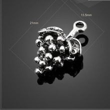 High quality 6 Pieces/Lot 21mm*13.5mm Antique Silver Plated fruit charm Grape charms Pendant Jewelry findings for jewelry making