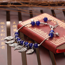 Ethnic Custom Blue Stone Crystal Silver Leaves Bells Anklet Sexy Summer Vacation Beach Jewelry Cute Lovely For Women Wholesale