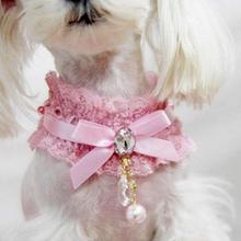 Hot Pink Pet Cat Lace Pearl Pendant Collar Princess Necklace Dog Collar