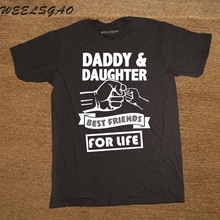 Daddy And Daughter Best Friends For Life Fathers Day Dad Gift Funny Logo Printed T Shirt Cotton Short Sleeve T-Shirts(China)