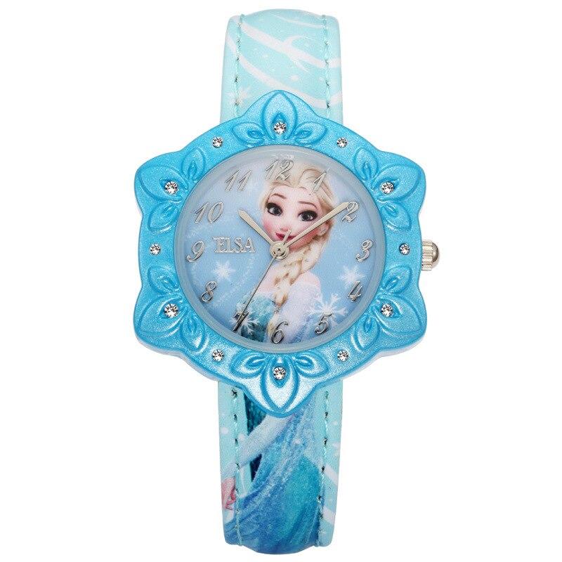 children Disney brand Quartz wrist watches Frozen Girls waterproof leather Diamond digital child watch Cartoon relogio clocks<br><br>Aliexpress