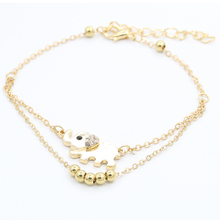 New Women Gold 2 Layer Link Chain Metal Beads Barefoot Sandal Foot Jewelry Female Feet Bracelet Crystal Elephant Charm Anklet(China)