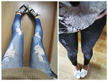 korean stylish slim pencil pants hole jean legging render pants Black Blue