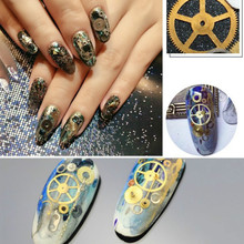 Wholesale 3g/box Nail Art Beauty DIY Metal Time Gear Steam Punk Machinery Nail Rhinestones Decorations Patch Drop Shipping(China)