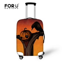FOR U DESIGNS  Halloween Pumpkin 3D Printing Elastic Luggage Cover for 18-28Inch Suitcase Elastic Polyester Material